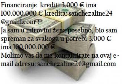 Financiranje iz kreditni 3.000 € ima 10.000.000